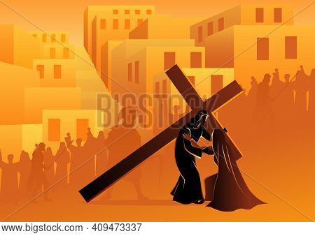 Biblical Vector Illustration Series. Way Of The Cross Or Stations Of The Cross, Fourth Station, Jesu