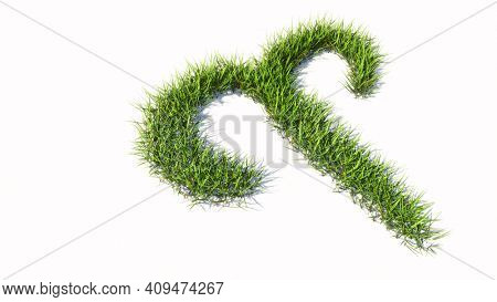 Concept or conceptual green summer lawn grass symbol shape isolated white background, sign of aries zodiac sign. 3d illustration symbol for  esoteric, the mystic, the power of prediction of astrology