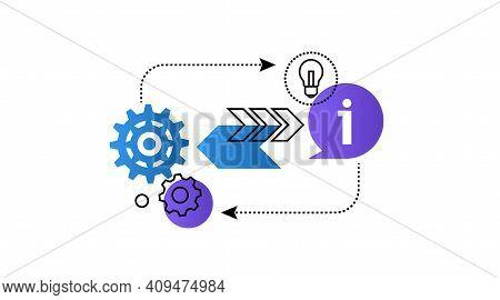 Theory-practice. Balance. Interaction Process. Bulb, Arrows . Vector Concept .
