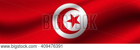 Banner With The Flag Of Tunisia. Fabric Texture Of The Flag Of Tunisia.