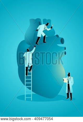 Vector Graphic Illustration Of Team Of Doctors Diagnose Human Heart. Cardiologist Concept