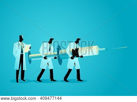 Vector Graphic Illustration Of Team Of Doctors Carrying Giant Needle. Anesthesiology Concept