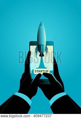 Business Concept Vector Illustration For Project Startup, Rocket Launch