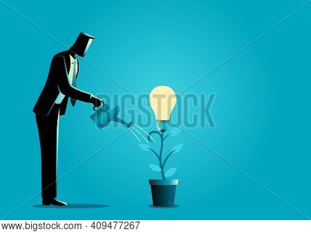 Business Concept Illustration Of A Businessman Watering Young Plant With Light Bulb On It. Creating