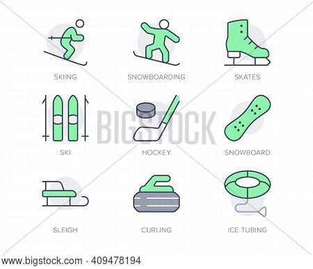 Winter Sport Simple Line Icons. Vector Illustration With Minimal Icon - Skier, Skates, Ice Hockey, C