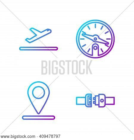 Set Line Safety Belt, Location, Plane Takeoff And Compass. Gradient Color Icons. Vector