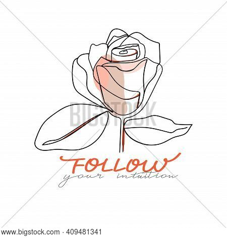 Trendy Abstract One Line Rose Flower With Pastel Shapes And Lettering. Fashion Typography Slogan Des
