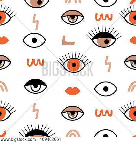 Seamless Pattern With Psychedelic Eyes And Contemporary Abstract Shapes. Different Kind Of Eyes. Tex