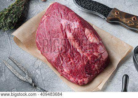 Beef Meat Cut Raw Set With Old Butcher Cleaver Knife, On Gray Background
