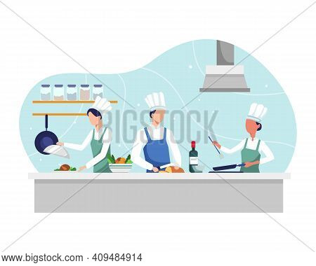 Professional Chef Prepares In Kitchen, Food Cooking And Vegetable Prepare. Restaurant Kitchen With C