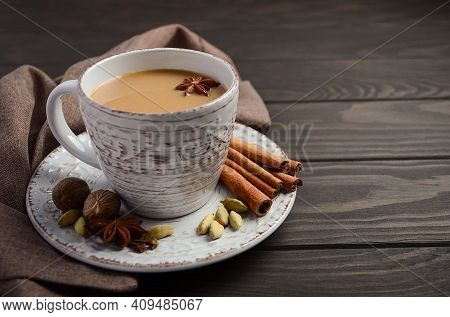 Tea Concept. Hot Tea Cup, Masala Tea (masala Chai). Hot Indian Drink Based On Milk And Tea With The