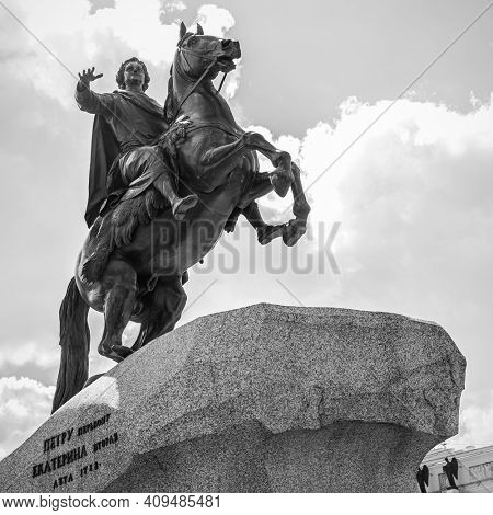 The Bronze Horseman - Equestrian statue of Peter the Great emperor by Etienne Maurice Falconet ( was erected in 1782) in the Senate Square in Saint Petersburg, Russia
