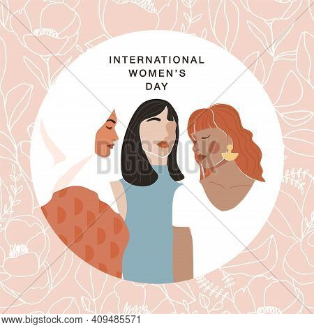 International Women's Day Greeting Card. Abstract Woman Portrait Different Nationalities On Floral L