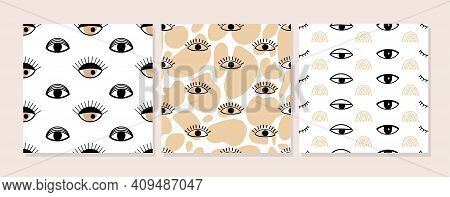 Set Of Contemporary Collage Seamless Pattern. Psychedelic Eyes And Contemporary Abstract Shapes. Dif
