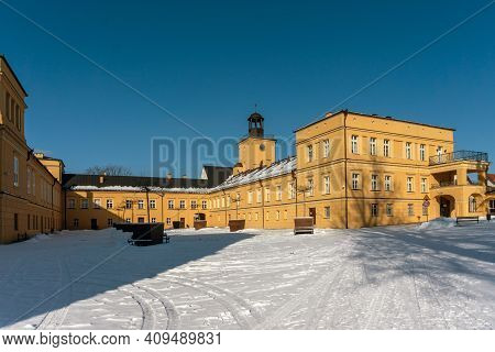Koszecin, Poland - January 31,2021: The Palace, Built In The First Half Of 17th Century, Is, Since 1