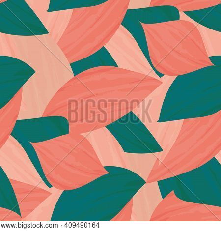 Painterly Pink Teal Tropical Leaves Seamless Vector Pattern Background. Texture Backdrop With Overla