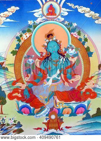 Ornate Tibetan Buddhist Art, Painting Or Thangka, An Important Traditional Meditational Tool Depicti