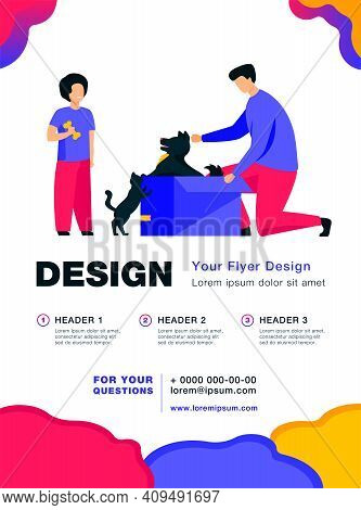 Dad And Son Adopting Pets. Man Opening Box With Dog, Kid, Cat Flat Vector Illustration. Animals Care