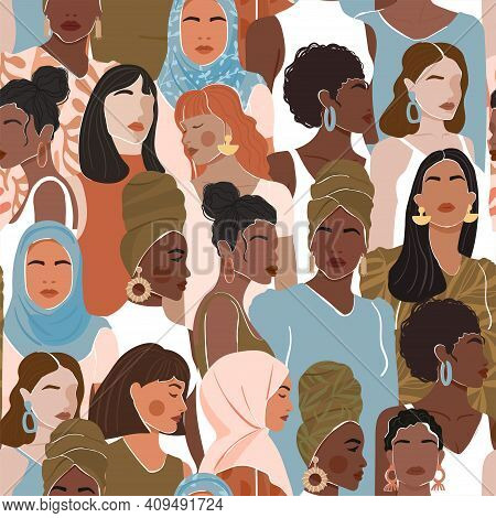 Seamless Pattern With Women Different Nationalities And Cultures. Girl Power, Struggle For Equality,