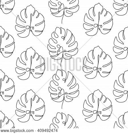 Contemporary Floral Seamless Pattern. One Line Continuous Monstera Leaves. Black And White Compositi