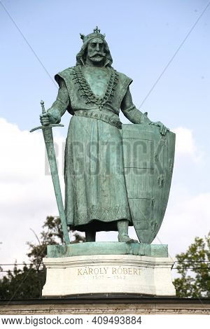 Budapest, Hungary 11.02.2021: Statue Of  Anjou Charles Robert I King Of Hungary On Heroes Square Bud
