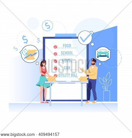 Vector Cartoon Flat Happy Family Characters With Gold Coins.young People Discussing Shopping List, H