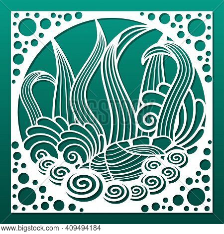 Laser Cut Panel With Nautical Underwater Design. Cnc Cutting Stencil, Engraving Or Print Pattern.  W