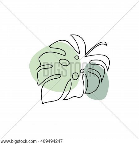 Exotic Monstera Continuous One Line Drawing Summer Tropical Leaf Hand Drawn On White Background Mini