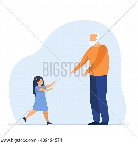 Cheerful Little Girl Running To Grandfather. Grandpa, Grandchild, Love Flat Vector Illustration. Fam