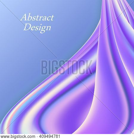 Iridescent Rainbow Wwvy Background. Colorful Swirl Wave With Holographic Color Flow. Abstract Modern