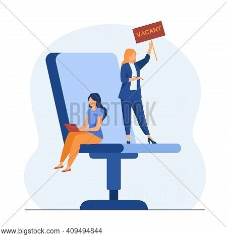 Hr Manager Looking For Worker On Vacant Place. Chair, Office, Employer Flat Vector Illustration. Req