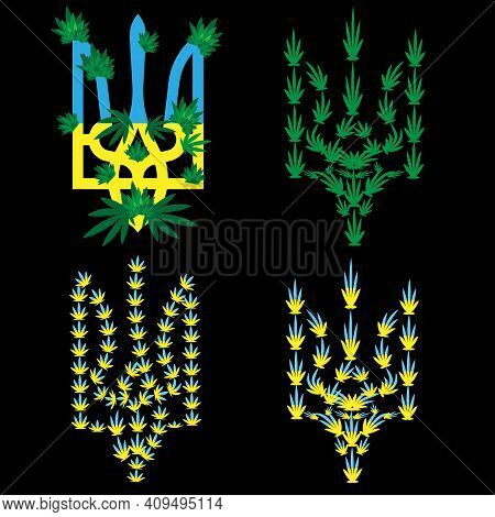 Emblem Of Ukraine On Which Cannabis Leaves And Inflorescences Are Pasted. The Concept Of Legalizing