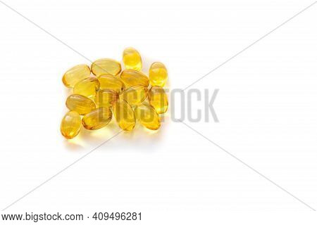 Fish Oil Capsules Isolated On A White Background