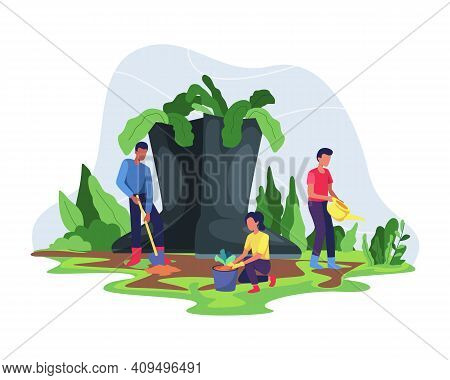 People Enjoy Gardening And Planting, Farmer And Gardener Doing Job Or Agricultural Hobby. People Doi