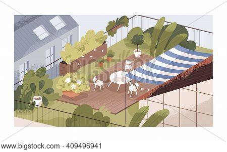 Terrace Or Balcony Garden With Plants And Furniture. Modern Cozy Eco-style Interior With Greenery, F
