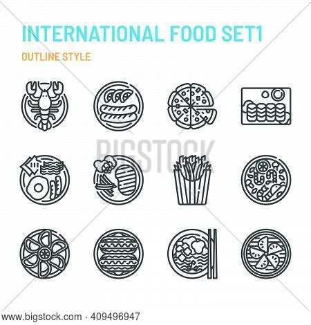 International Cuisine In Outline Icon And Symbol Set