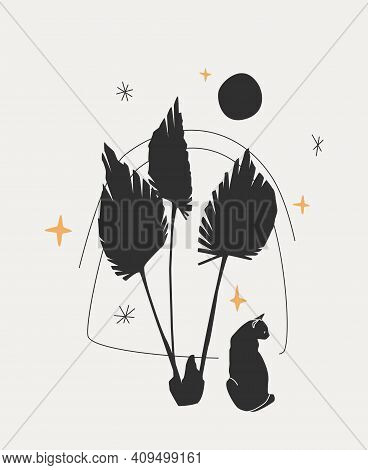 Cat, Full Moon, Stars, And Palm Leaves. Black Vector Silhouettes Isolated Over Gray Background. Tren