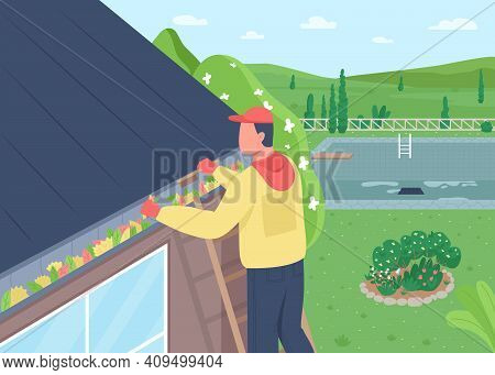 Cleaning Leaves From House Roof Flat Color Vector Illustration. Home Maintenance. Sweeping Rooftop.