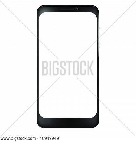 Vector Realistic Black Smartphone, White Blank Screen.