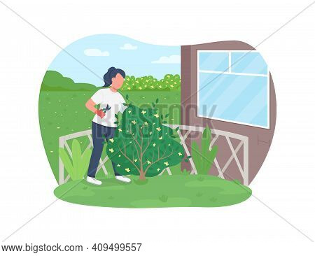 Garden Work 2d Vector Web Banner, Poster. Gardener Cutting Hedge. Woman Trimming Bush Flat Character