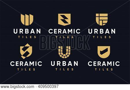 Modern Professional Logos With The Image Of Ceramic Tiles, For The Construction Industry