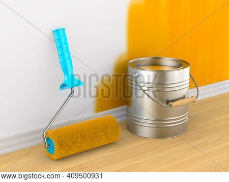 Painting of wall. Roller brush and can. 3D illustration