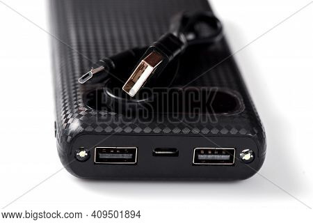 Power Bank Close Up. Power Bank For Charging Mobile Devices. External Battery For Mobile Devices.
