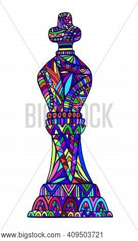 Bright King Chess Piece With Decorative Abstract Patterns Doodle Style, Isolated On White. Stylish C