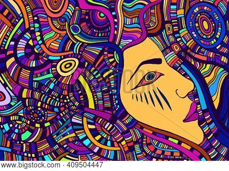 Colorful Tribal Surreal Psychedelic Abstract Face Girl With Crazy Maze Ornaments. Vector Hand Drawn