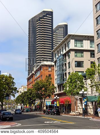 San Diego,ca - April 16,2014:a View Downtown San Diego City, State California,united States Of Ameri