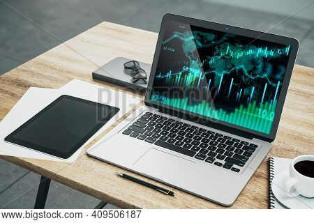 Forex Market Diagram With Candlestick And Financial Graphs On Laptop Display. Market Analysis Concep