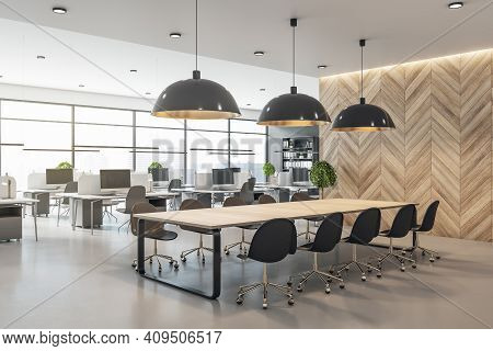 Modern Eco Style Interior In Open Space Office With Big Windows, Wooden Wall And Conference Table An