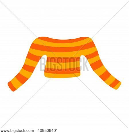 Sweater With Yellow And Orange Stripes, With A Cutout. Piece Of Clothing, Cozy And Fashion. Colorful