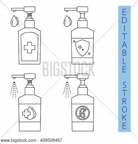 Hand Sanitizer. Spraying Antibacterial Liquid. Hand Disinfectant Dispenser. Sanitizer Liquid Soap. S